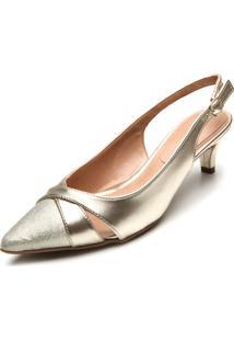 Scarpin D.Dress Metalizado Dourado - Dourado - Feminino - Dafiti