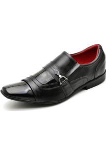 Sapato Social Top Franca Shoes Verniz Masculino - Masculino-Preto