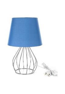 Abajur Cebola Dome Azul Com Aramado Cromado