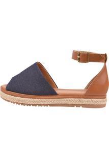 Sandália Flatform Chyrro Tecido Jeans Azul