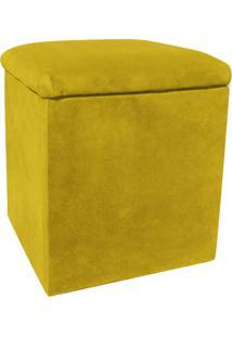 Puff Decorativo Baú Dani Quadrado Suede Amarelo - D'Rossi
