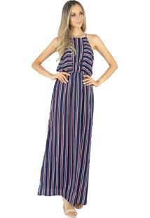 Vestido Longo Liage Listrado Alça Transparencia Fenda Lateral Listra Azul Marinho Vermelho / Vinho Branco /Off-White