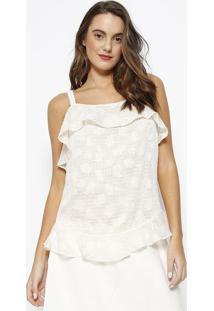 Blusa Texturizada Com Sobreposição- Off White & Dourada