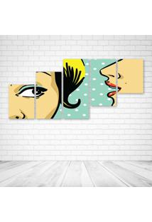 Quadro Decorativo - Speak Womans Pop Art - Composto De 5 Quadros - Multicolorido - Dafiti