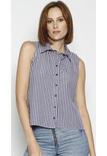 Camisa Xadrez Com Fendas - Azul Marinho & Branca - Llinho Fino