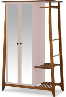 Armario Multiuso Stoka 2 Portas Rosa Claro Estrutura Amendoa 169Cm - 60966 - Sun House