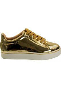Tênis Feminino Moleca Metal Glamour 5284.307 - Feminino-Dourado