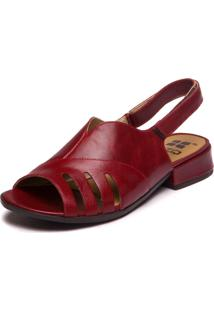 Sandalia Vermelha Salto Baixo Feminina - Amora 7723 - Tricae