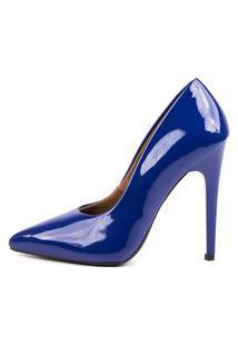 Scarpin Factor Salto Alto - Verniz Azul Klein
