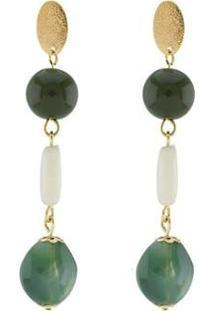 Brinco Barbara Strauss Esperia Em Resina Lalique Revestido Em Ouro 18K - Feminino-Verde