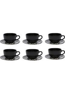 Conjunto 6 Xícaras De Chá Com Pires Oxford Unni Rock Preto