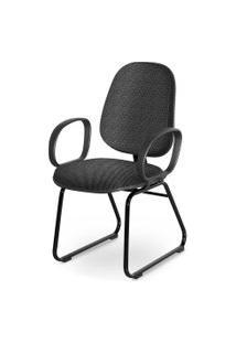 Cadeira Gerente Base Trapézio Braço Cors Cinza