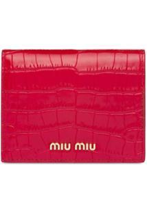 Miu Miu Carteira Com Logo E Efeito Pele De Crocodilo - Vermelho