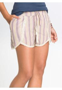 Shorts Comfort Listrado Bege