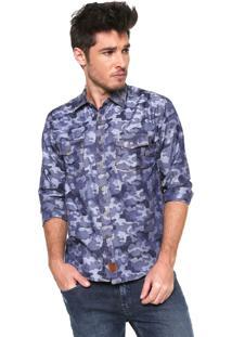 Camisa Gangster Reta Camuflada Azul
