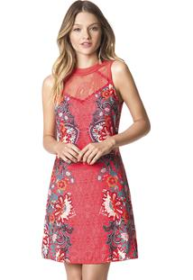 365a9bb47 ... Vestido Curto Cetim Sem Mangas Floral Vermelho-P