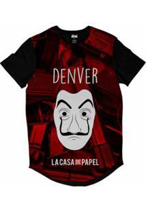 Camiseta Longline Attack Life La Casa De Papel Denver Sublimada Masculina - Masculino-Vermelho