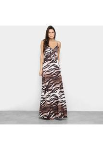 Vestido Lança Perfume Longo Estampado - Feminino-Marrom+Bege