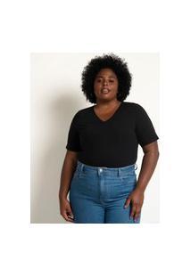 Blusa Básica Em Algodão Com Gola V Curve & Plus Size Preto
