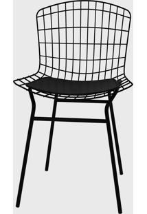 Cadeira Trama Vinil Preto/Pintada Pozza - Preto - Dafiti
