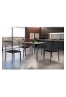 Conjunto De Mesa De Jantar Grécia Com Tampo De Vidro Mocaccino E 4 Cadeiras Atos Couríssimo Preto