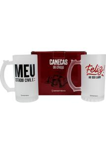 Kit C/2 Caneca Chop Estado Civil - Zona Criativa