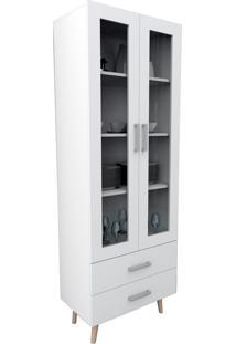 Armário Cristaleira C/ Portas E Gavetas Branco Appunto