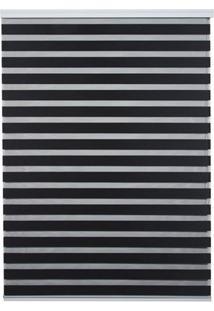 Persiana Rolo Em Poliéster Zebra 160X160Cm Preta