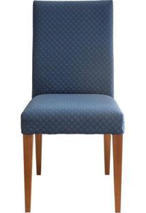 Cadeira Estofada 217 Madeira Maciça 6 Peças Amendoa-Azul