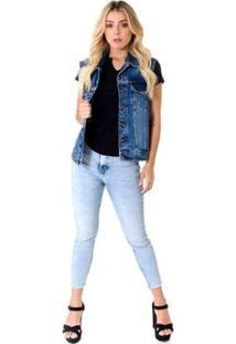 Colete Opera Rock Jeans Feminino - Feminino-Azul