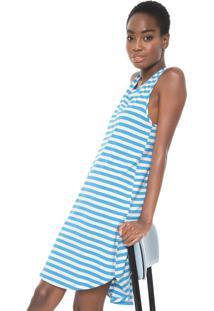 Vestido Cantão Curto Listrado Off-White/Azul