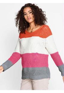 Suéter De Tricô Listrado Laranja E Rosa