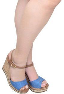 Sandália Feminina Anabela Via Marte Caramelo Com Cabedal Azul Jeans