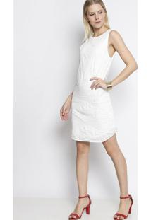 Vestido Reto Com Paetês - Off White - Fashion 500Fashion 500