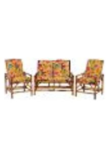 Sofá 2 Lugares 2 Cadeiras De Bambu Cancun Para Area Edicula Jardim G28