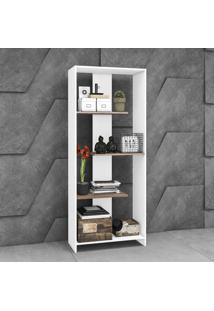 Estante Para Livros 3 Prateleiras Design Esm223 Branco - Móvel Bento
