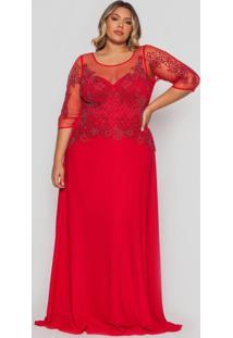 Vestido Almaria Plus Size Pianeta Longo Tule Verme