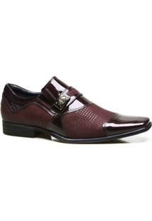 Sapato Social Couro Calvest Com Textura Em Verniz Masculino - Masculino-Bordô