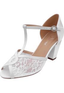 Sandalia Noiva Branca Renda Salto Médio Grosso