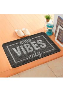 Capacho Carpet Good Vibes Only Cinza