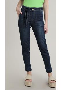Calça Jeans Feminina Sawary Jogger Cropped Com Cinto Azul Médio
