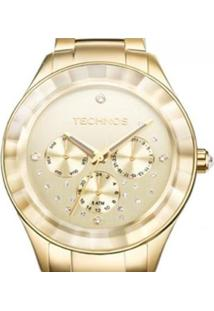 Relógio Technos Feminino Elegance Swarovski - Feminino-Dourado