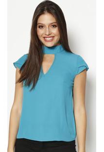 Blusa Com Recorte Vazado & Botões - Azulmoiselle