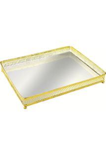 Bandeja Mart De Metal Com Espelho Dourada Azur 7172