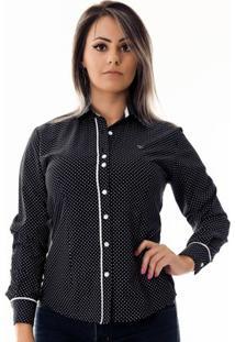 Camisa Pimenta Rosada Da Poá Martina - Feminino-Preto+Branco