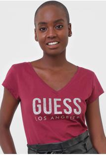 Blusa Guess Los Angeles Vinho - Vinho - Feminino - Algodã£O - Dafiti