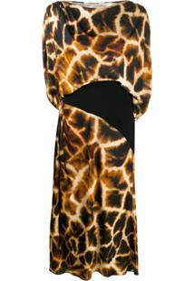 Roberto Cavalli Vestido Com Estampa De Girafa - Marrom
