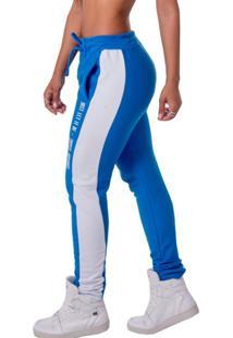 Calça De Moletom Top Fit Casual Azul/Branca