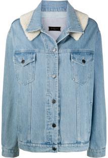 Simonetta Ravizza Jaqueta Jeans Com Recorte Contrastante - Azul