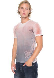 Camiseta Polo Wear Estampada Cinza/Coral
